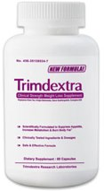 Bottle of Trimdextra diet pills
