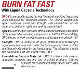 How does Lipo6 fat burner work